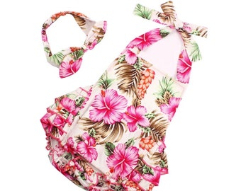 09872424b Floral pink flower hawaiian summer baby girl romper bodysuit with maching  headband