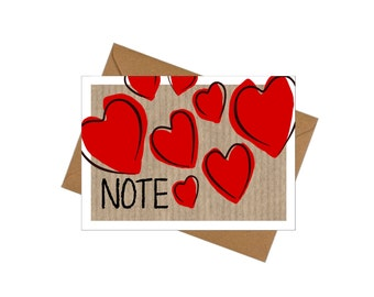 10 Pack Small Note Cards - Lovehearts