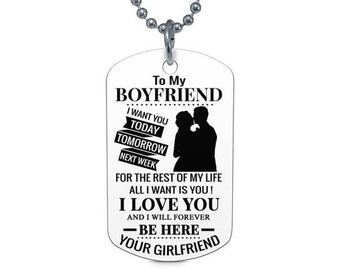 To My Boyfriend I Want You Dog Tag Birthday Graduation Gift Military Airforce