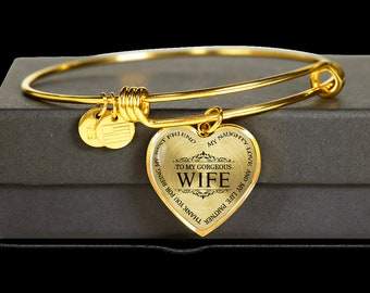 32ea607702d5 To My Gorgeous Wife Thank You For Being My Best friend Luxury Gold  Adjustable Bangle - Husband To Wife - Free Shipping-Birthday Anniversary