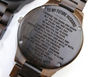 To My Future Husband I Choose You Again And Muzuo Link Belt Engraved Wooden Quartz Wrist Watch Anniversary Birthday Customized Gift