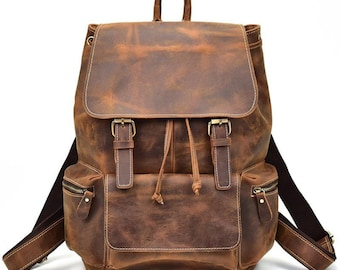 2f38d4b8e164 Men vintage crazy horse leather backpack Unisex cow leather 14