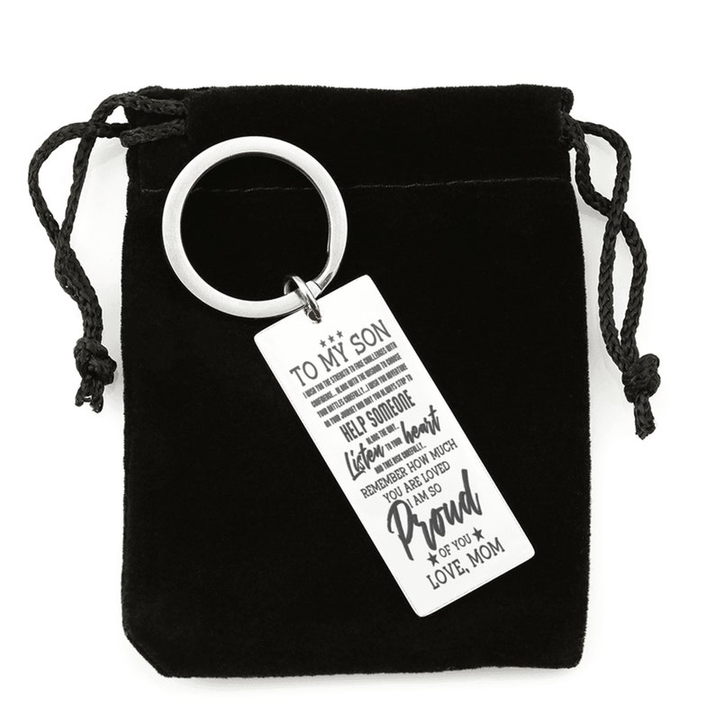 To My Son I Wish You Square Engraved Keychain Keyring Gift from Mom for Anniversary Birthday Graduation Wedding Personalized