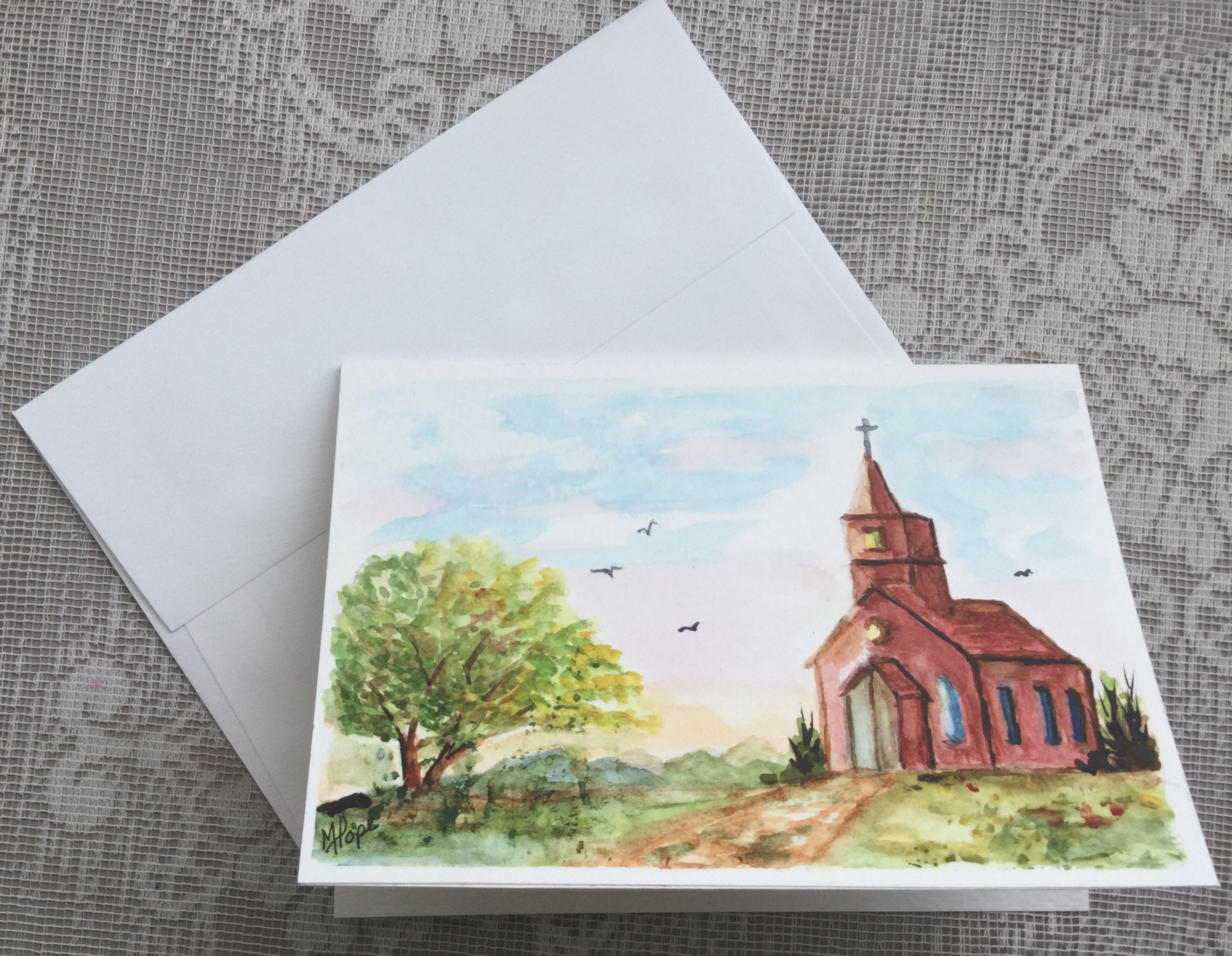 Church Greeting Cardwatercolor Greeting Cardcountry Church5 Etsy