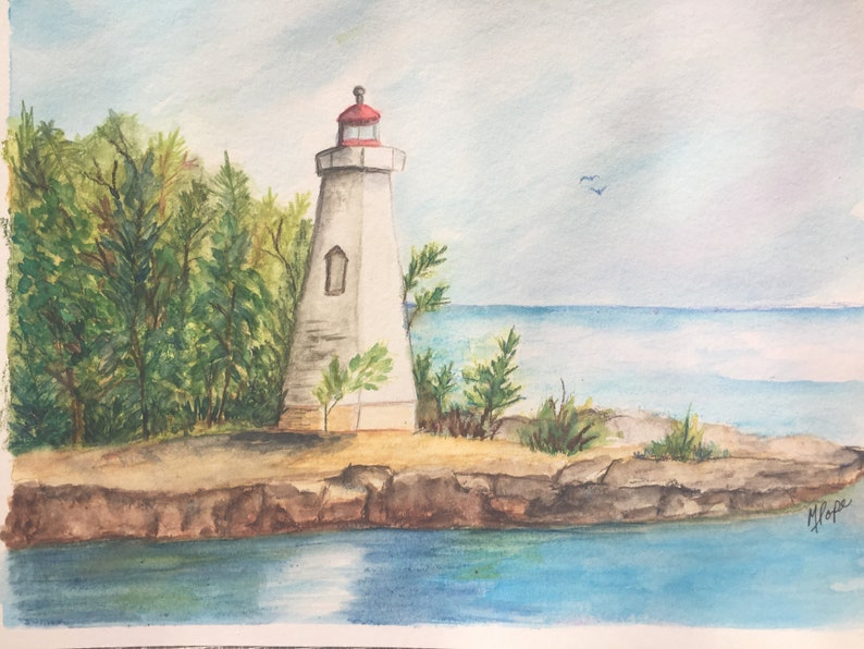 Lighthouse watercolor painting/Lighthouse watercolor/Watercolor pencils/8 x  10 painting/Watercolor crayons/Lighthouse