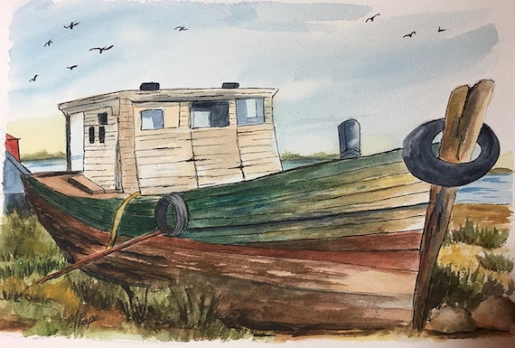 Old Fishing Boat Watercolor And Ink Boat Watercolor Boat Etsy