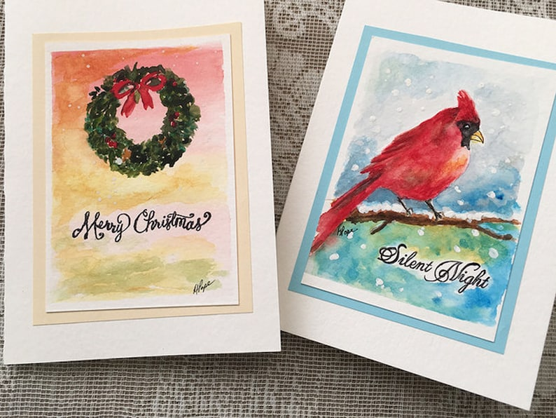Watercolor Christmas Cards.Christmas Cards Set Of 2 Watercolor Christmas Cards Holiday Greeting Cards Christmas Greeting Cards Watercolor Greeting Card 5 X 7 Cards