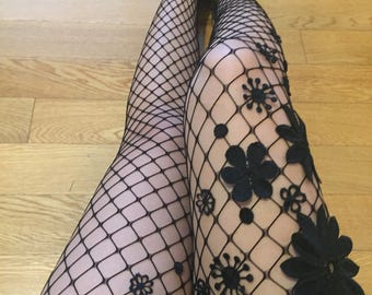 3d1bcea53d66a Floral Fishnet Tights