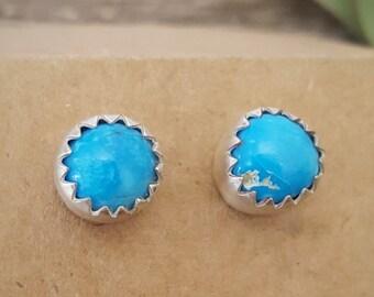 Morenci mine Turquoise stud earrings | rare turquoise | sterling silver stud earrings | 8mm earrings