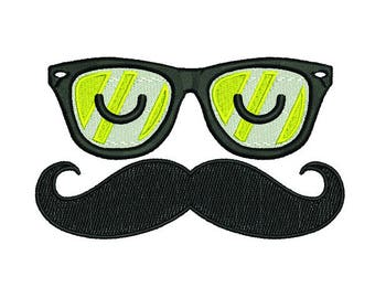 EMOJI Glasses and mustache-embroidery design ~ INSTANT DOWNLOAD ~ Machine Embroidery Pattern