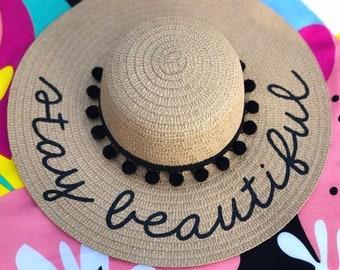 ae996381 Personalized custom sun floppy straw beach hat pom hand-painted Mrs.  wedding honeymoon bachelorette party