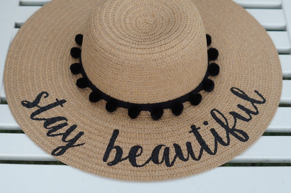 Personalized custom sun floppy straw beach hat pom hand-painted Mrs wedding honeymoon bachelorette party