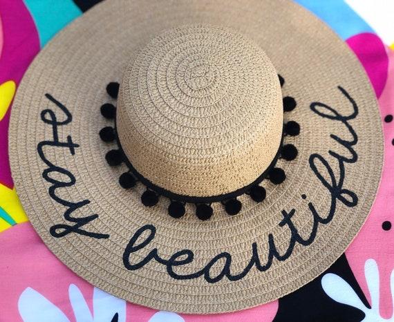 5cce2855 Personalized custom sun floppy straw beach hat pom | Etsy