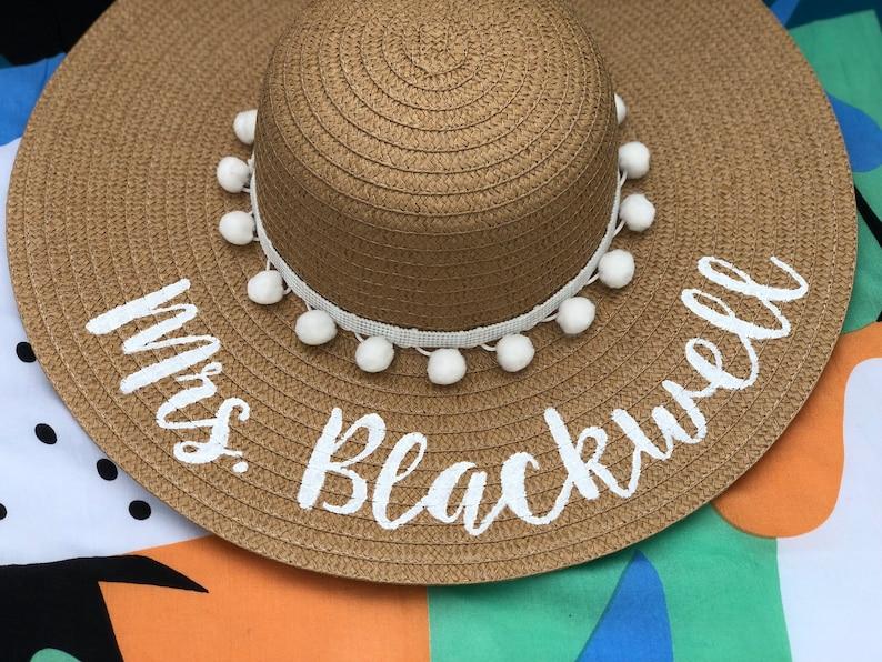 4f9d1cf5 Mrs. Hat / Custom Beach Hat / Personalized Beach Hat / Wedding | Etsy