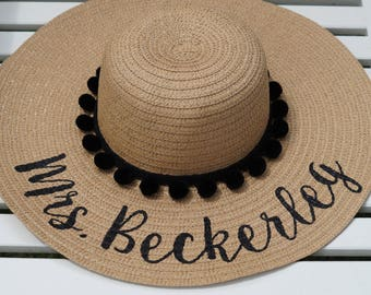 Custom personalized sun floppy straw beach hat pom hand-painted Mrs. wedding honeymoon bachelorette derby party
