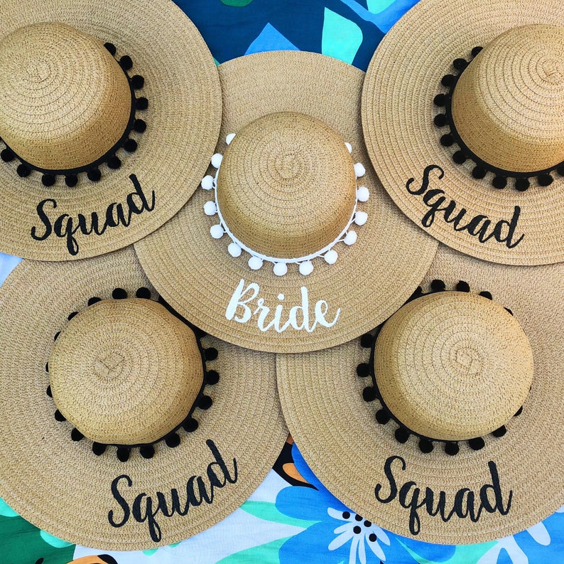 386144a7 Group bulk order 2+ / custom beach hat / hand-painted / Mrs. / wedding /  honeymoon / bachelorette party / Floppy Hat / Personalized Hat