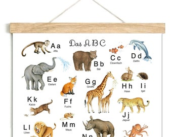 ABC Poster 50 x 70 cm Unframed Learning Poster Alphabet Nursery Animal Poster Zoo Forest Forest Forest Animals Nursery School Beginning 1st Class
