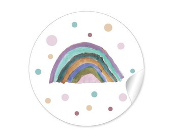 24 Stickers RAINBOW Rainbow Gift Sticker Children's Birthday Party Gifts Birth Baptism Communion Confirmation