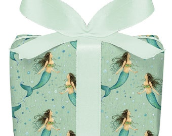 3 sheets of gift wrapping paper MERRJUNGFRAU GREEN Children's birthday 50 x 70 cm printed on PEFC™ certified paper
