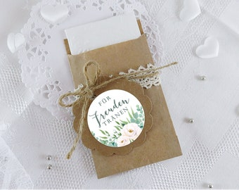 BAGS SET Handkerchief Packaging Joy Tears Eucalyptus Roses Green • 24 Stickers + 24 Flat Bags • Wedding Baptism Host Gift