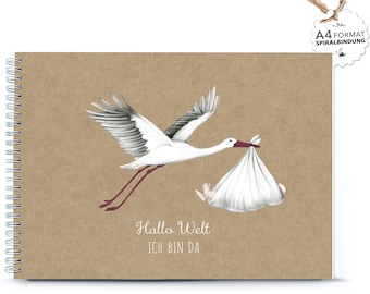 """DIN A4 BABYALBUM Stork with baby for birth """"Hello world I'm there"""" (spiral binding) Memory format photos poems thoughts"""