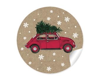 24 Sticker CAR TANNENBAUM Kraft Paper Look Beetle Christmas Sticker Christmas Decorations Gifts Christmas