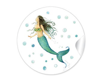 24 Stickers MERMAID Mermaid Gift Sticker Children's Birthday Party Gifts Birth