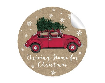24 Stickers CAR TANNENBAUM Driving Home for Christmas Kraft Paper Look Beetle Christmas Sticker Christmas Decoration Gifts Christmas