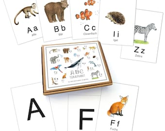 26 ABC Alphabet Cards WHITE Flashcards Letters Educational Game Safari Zoo Animals Forest Animals Animals • A6 Cards