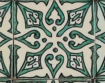 Hand-painted tile Sara   Handicrafts from Marrakech Wall tile for beautiful kitchen Shower Bathroom   HBF8021