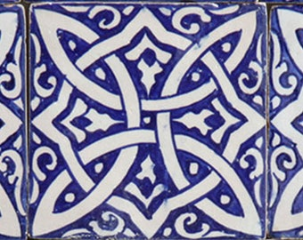 Moroccan hand-painted tile Fadwa 10 x 10 cm   Vintage tile oriental wall tile for beautiful kitchen shower bathroom   FL7160
