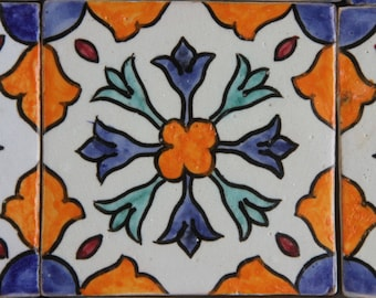 Hand-painted tile Aya | Handicrafts from Morocco Wall tile for beautiful kitchen Shower Bathroom | CENTRAL STATION8160