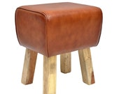 Genuine leather stool Tejas 38x35x46 cm Width depth height brown made of solid wood genuine leather Retro Turnbock-Design Stool Upholstered Stool HH2411