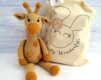 Crochet Kit - Aimee the Giraffe Luxury Crochet Kit. Complete Beginner Kit with Video Tutorials to teach you step by step how to make her