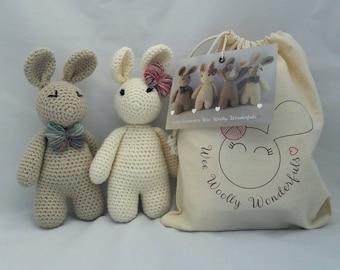 Crochet Kit - Luxury Arthur & Betsy Bunny Rabbit Beginner Kit  -Craft Kit - Amigurumi pattern- Luxury Treat -Easy Learn to crochet tutorials