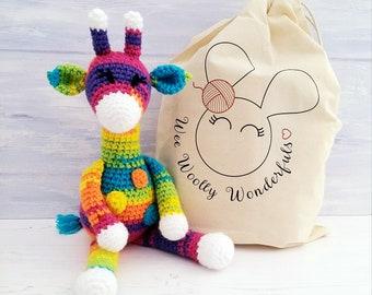 Crochet Kit - Sherbet the Rainbow Giraffe Luxury Crochet Kit. Complete Beginner Kit with Video Tutorials Lockdown Hobby Learn to Crochet