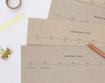 Recycled Paper Calendar 2017/2018   Medium Calendar   Recycled Paper   Portait format   Gift for her   Gift when moving  gift for him