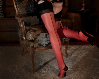 4fb1c4f63cf Sheer Back seamed Stockings. Red color and contrast black back seam and  top. One size stretchable.