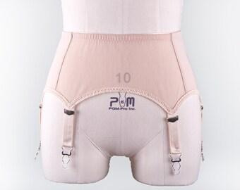 Beige GRETA Nude Retro Style Garter Belt 6 strap Suspender Belt Size XS-4XL