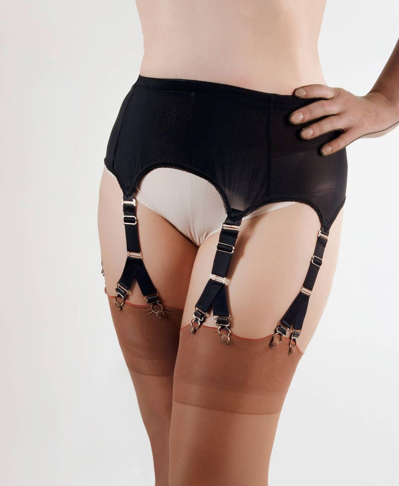 Nylon Power Mesh Garter Belt / Suspender Belt with 6 Straps image 0