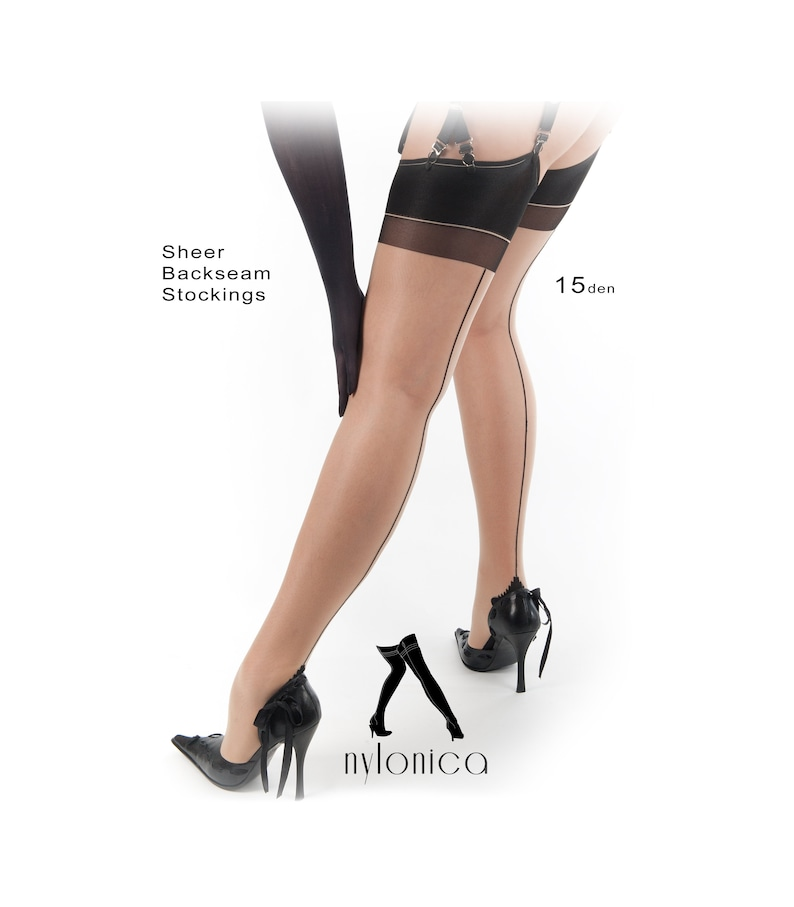ba5410e93 Sheer Back seamed Stockings. 4 colors and contrast back seam
