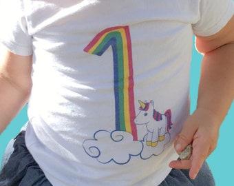 first birthday, 1st birthday outfit, unicorn shirt, rainbow birthday, first birthday shirt, first birthday shirt girl, girl birthday t-shirt