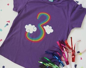 3rd birthday, rainbow shirt, 3rd birthday shirt, 3 year old birthday, 3 birthday, rainbow birthday, girl birthday shirt, birthday t-shirt