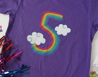 5th birthday shirt, rainbow, girl birthday shirt, rainbow party, rainbow birthday, girl birthday t-shirt, birthday shirt, birthday outfit