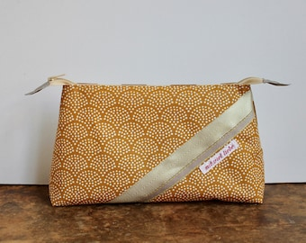 cosmetic bag , travel toiletry bag, weekend size, make up, pencil bag, sun, waves , sand, yellow, gold, washable ***