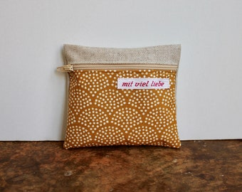 oilcloth, small mini bag, on the way, pocket size, wallet, medication, lipstick, tampons, waves, sun, sand, yellow, washable ***