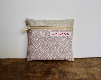 oilcloth, small mini bag, on the way, pocket size, wallet, medication, lipstick, tampons, travel, waves, rose, white, pink, washable ***