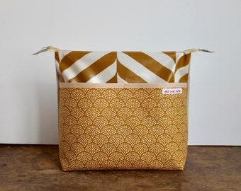 oilcloth cosmetic bag big, travel toiletry bag, make up, diaper bag, sun, waves, sand, yellow, washable ***