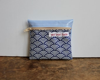oilcloth, small mini bag, on the way, pocket size, wallet, medication, lipstick, tampons, waves, stripes, blue, washable ***