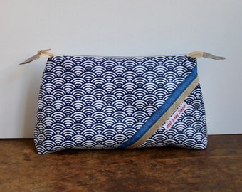 cosmetic bag , travel toiletry bag, weekend size, make up, pencil bag, waves , blue, washable ***